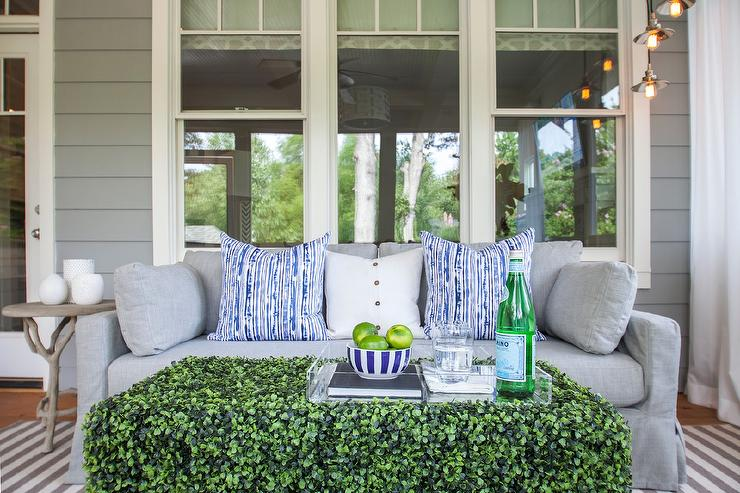 Dove Gray Sunroom Sofa With Grass Coffee Table