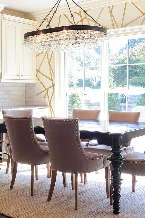 Glossy Black Dining Table With Brown Nailhead Dining Chairs