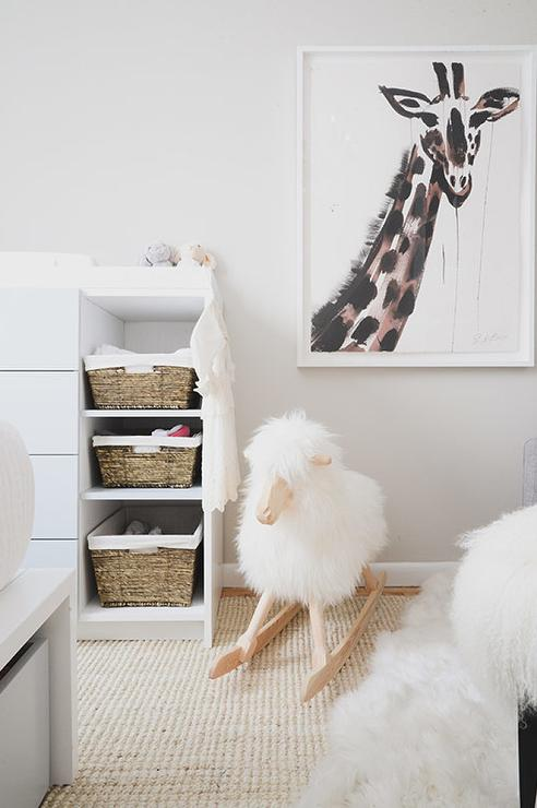Nursery Sheep Rocker Next To Changing Table Transitional