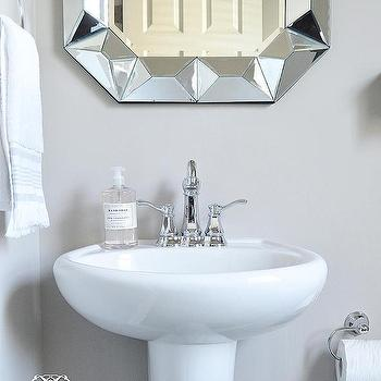 Powder Room Pedestal Sink With Geometric Mirror