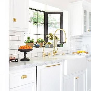 White Kitchen Cabinets With Brass Cup Pulls Design Ideas