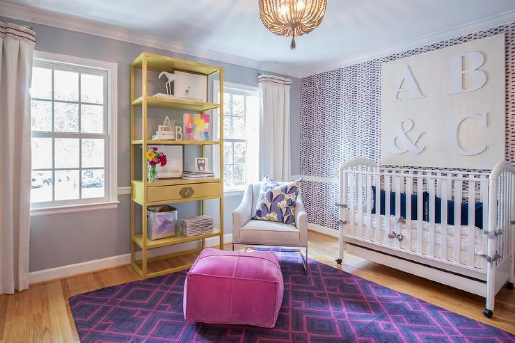 Pink And Purple Nursery With Chair Rail Contemporary