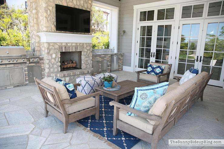 View Full Size. Covered Patio Features Restoration Hardware Leagrave  Classic Lounge Chairs And Sofa Lined ...