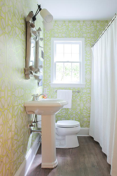 White And Green Bathroom With Faux Bois Mirror