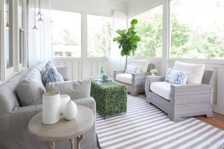 Gray Sunroom With White Sheer Curtains Transitional Deck Patio