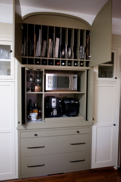 Gray Pantry Cabinets With Vertical Tray Shelves Transitional Kitchen