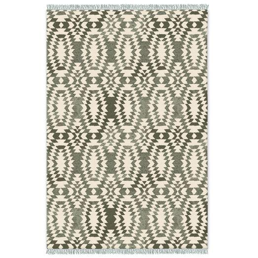 Palmette Chenille Special Order Wool Kilim Blue Sage Rug