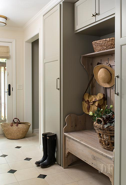 Gray Green Mudroom Cabinets With Freestanding Bench