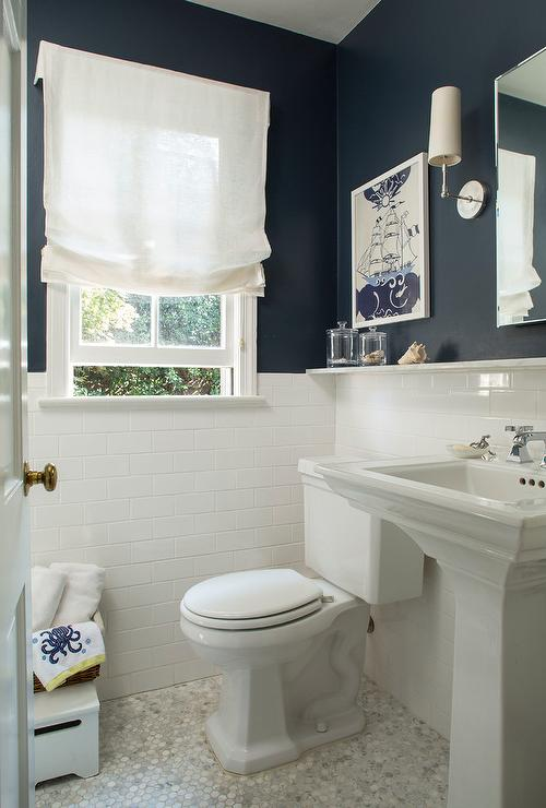 Navy Bathroom Walls With White Subway Tiles Cottage
