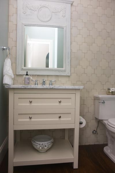 Cream Bathroom With Cream Cross Tiles