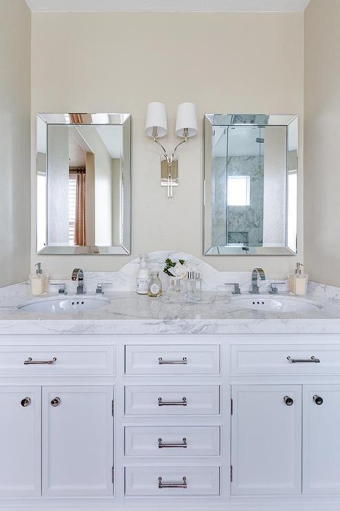 Curved marble dual vanity backsplash with beveled mirrors transitional bathroom Granite backsplash for bathroom vanity