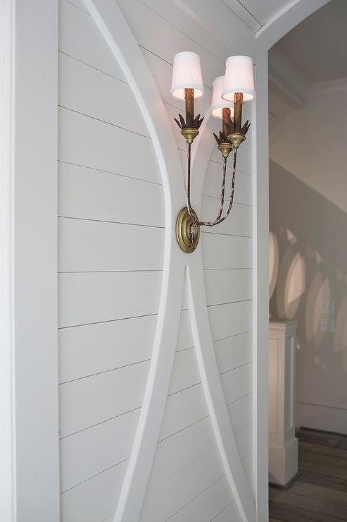 Shiplap Foyer Walls With French Brass Sconce French