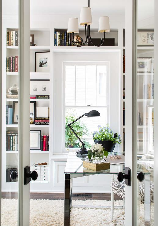 French Doors To Home Office With Window Seat