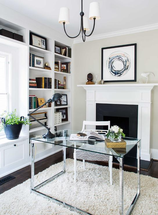 Desk in front of window design decor photos pictures for Small den with fireplace