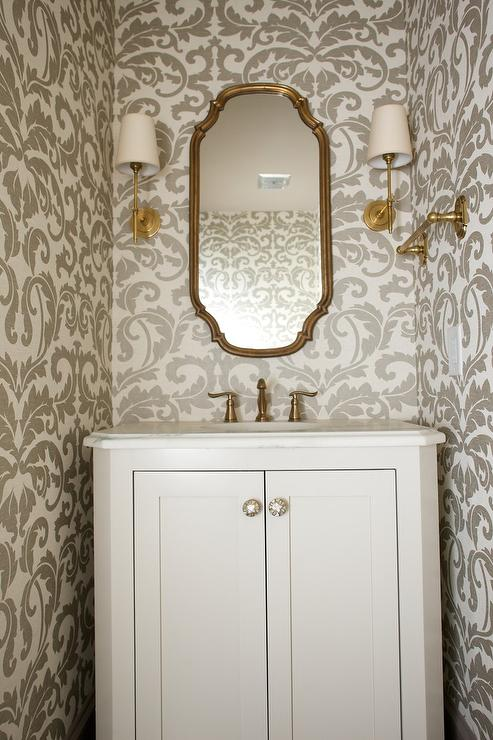 Gold And Gray Powder Room With Damask Wallpaper