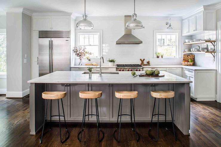 Wisteria Stools Cool Gray Kitchen Island With Wisteria Smart And Sleek Stools . Design Inspiration