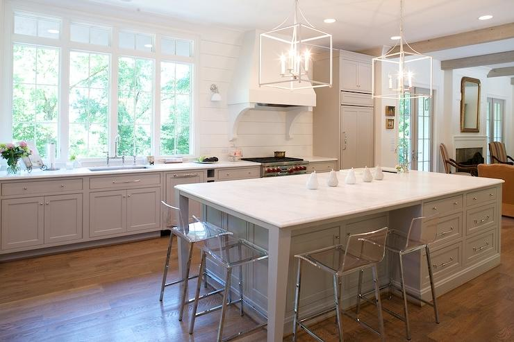 gray kitchen island with white lanterns view full size
