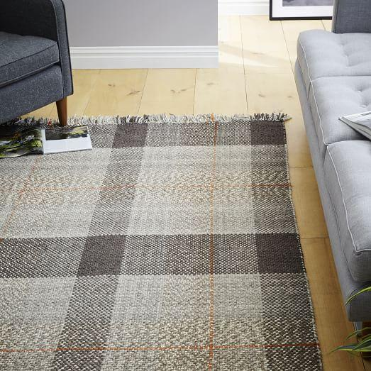 Plaid Rug: Grey Heathered Plaid Wool Rug