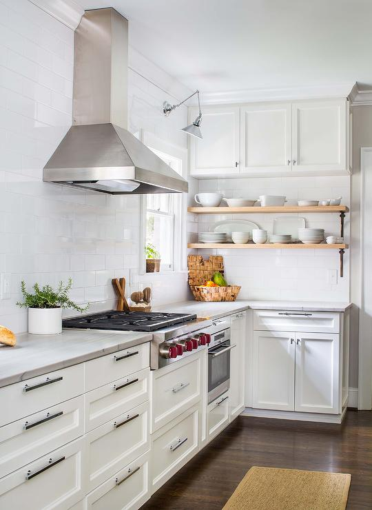 Kitchen With Full Height Subway Tiled Backsplash