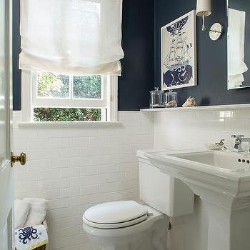 Navy Bathroom Walls With White Subway Tiles
