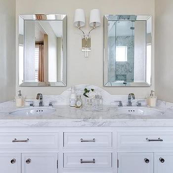 Curved Marble Dual Vanity Backsplash with Beveled Mirrors. Beveled Vanity Mirrors Design Ideas