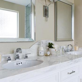 Curved Marble Dual Vanity Backsplash With Beveled Mirrors