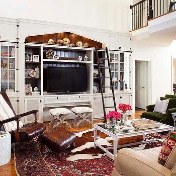 White Built In Media Center With Ladder View Full Size Fantastic Living Room