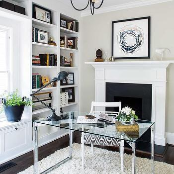 Fireplace Alcove Desk in Eclectic Library