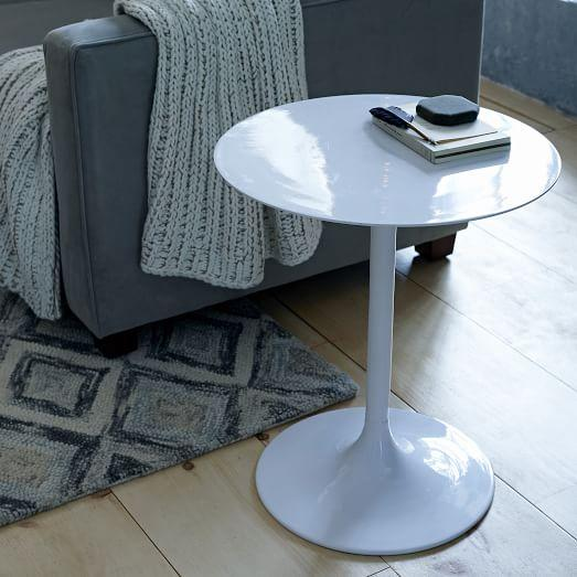 white modernist pedestal side table