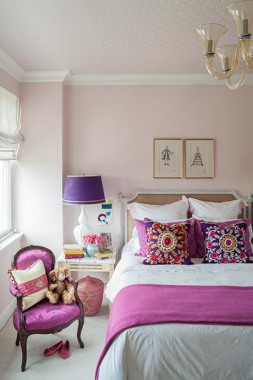 Pink and purple girls room with french burlap nailhead bed contemporary bedroom - Purple and pink girls bedroom ...