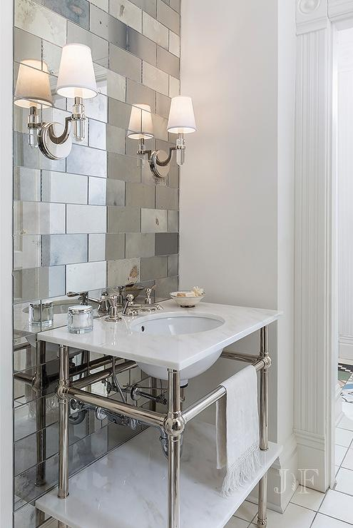 Antiqued Mirrored Subway Tiles With Marble Washstand View Full Size