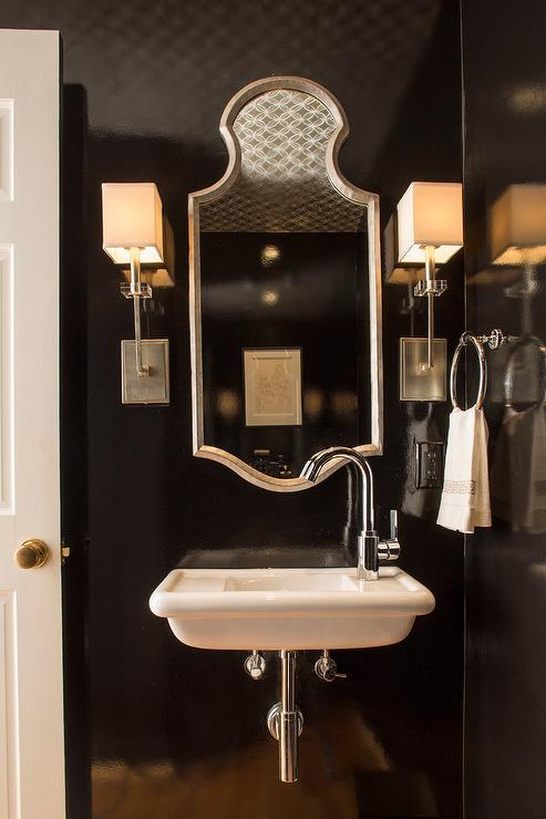 Glossy Black Powder Room Walls With Wall Mount Sink