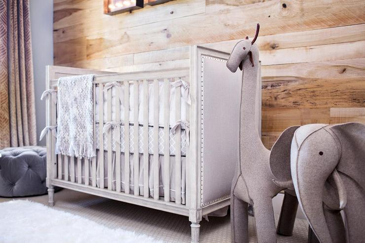 Gray French Nailhead Crib With Oversized Wool Felt