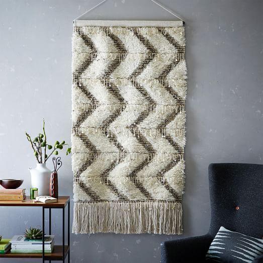 Sequin Shag Cream Wall Tapestry