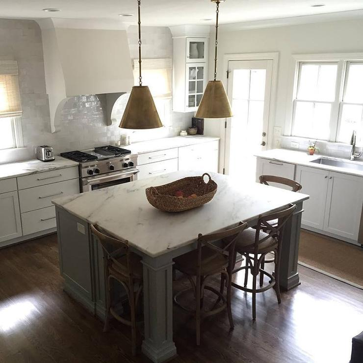 gray kitchen island gray kitchen island with gold pendants transitional kitchen 1674