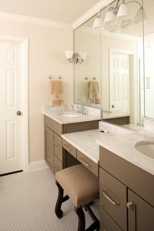Taupe bathroom vanity and white marble countertops with for Taupe bathroom ideas