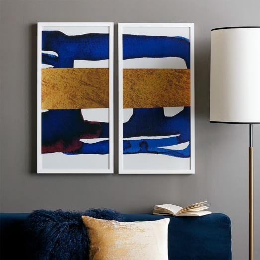 & The Arts Capsule Blue and Gold Ink Diptych
