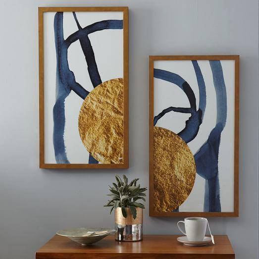& The Arts Capsule Blue Gold Foil Diptych