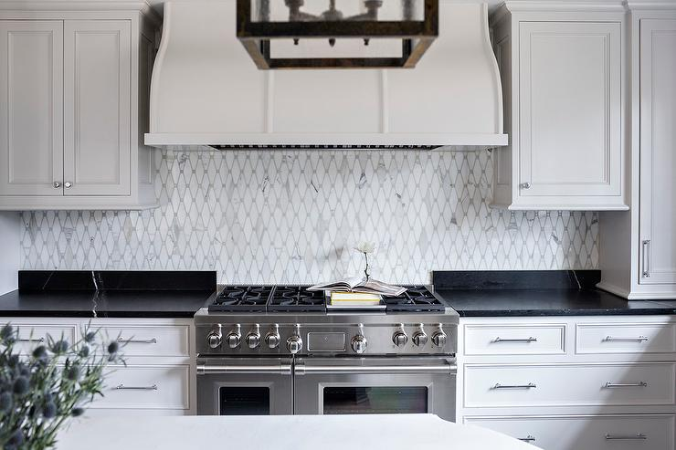 Black Countertops With White Veining Transitional Kitchen