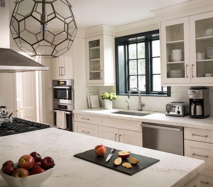 White Kitchen With Black Window Moldings