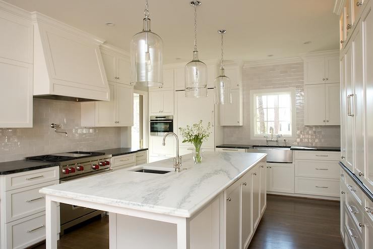 Long Kitchen Island With Corsica 1 Light Pendants