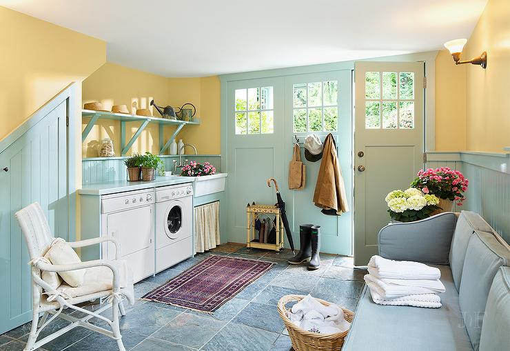 Turquoise Blue Mudroom With Beadboard Trim Cottage