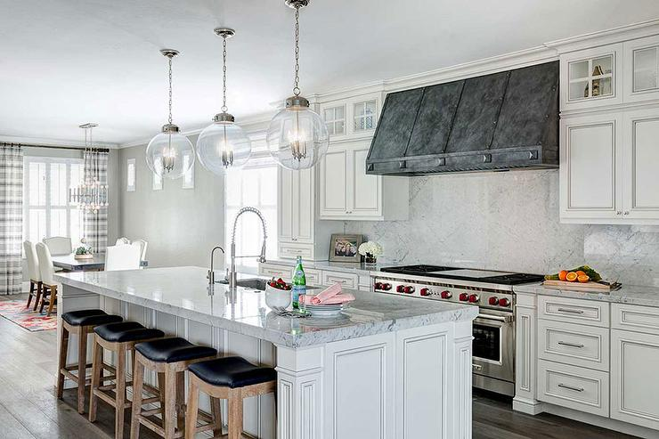 French White Kitchen Cabinets With Zinc Hood Transitional Kitchen
