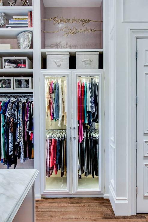 Glass Door Wardrobe Cabinets With Overhead Shelf Transitional Closet
