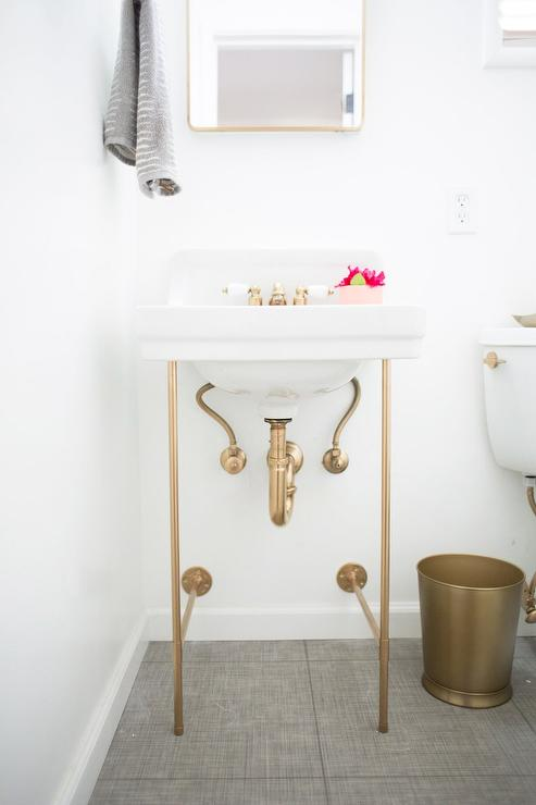 Diy Gold Sink Vanity Legs Transitional Bathroom
