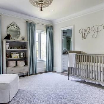Blue And Gray Nursery With Blue Velvet Tufted French Crib
