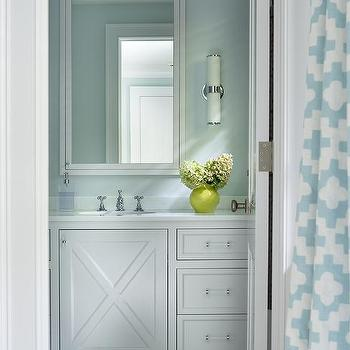 Gentil Turquoise Bathroom With Gray And Blue Penny Tiled Floor