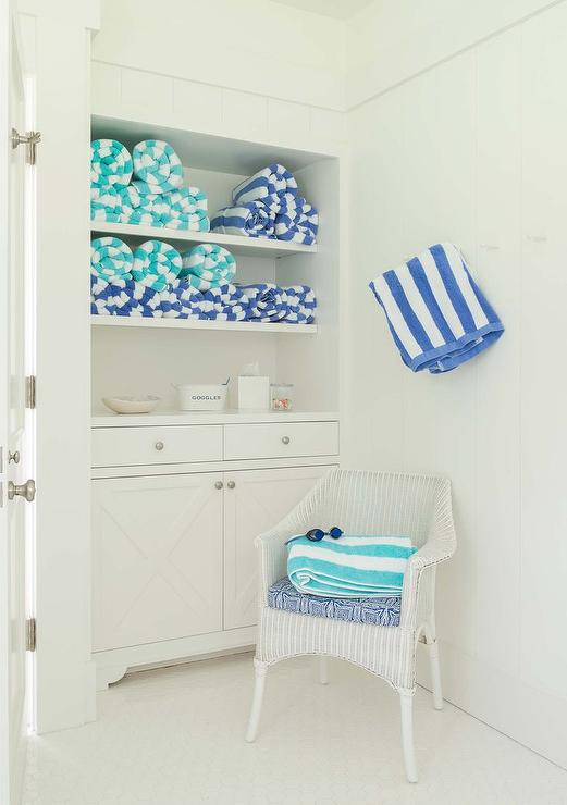 Turquoise Blue Bathroom Accents With White Wicker Chair Cottage Bathroom