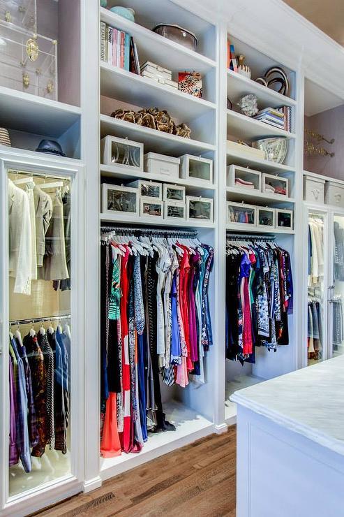 Walk In Closet Built In Shelves With Custom Lighting
