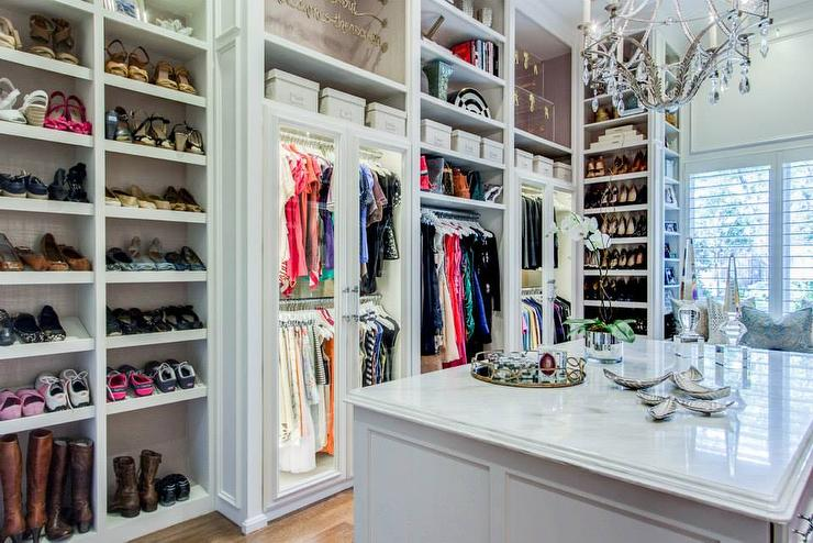 Walk In Closet With Slanted Shoe Shelves Transitional